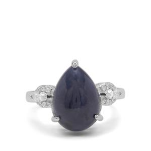 Bharat Sapphire Ring with White Zircon in Sterling Silver 10cts