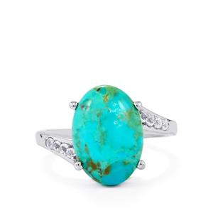 Cochise Turquoise & White Topaz Sterling Silver Ring ATGW 5.73cts