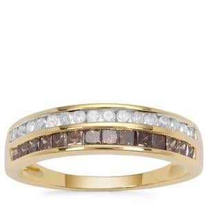 Champagne Diamond Ring with White Diamond in 9K Gold 0.77ct