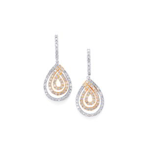 Diamond Earrings in Two Tone Gold Plated Sterling Silver 2ct