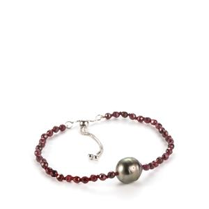 Tahitian Cultured Pearl Slider Bracelet with Garnet in Sterling Silver