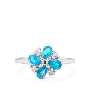Neon Apatite & White Zircon Sterling Silver Ring ATGW 1cts