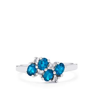 Neon Apatite Ring with White Zircon in Sterling Silver 0.68cts