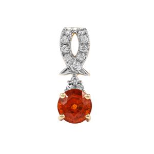 Mandarin Garnet Pendant with White Zircon in 10K Gold 1.84cts