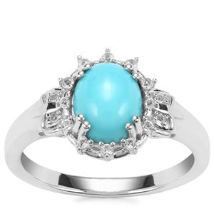 Sleeping Beauty Turquoise Ring with White Topaz in Sterling Silver 1.62cts