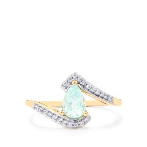 Paraiba Tourmaline Ring with White Zircon in 9K Gold 0.74cts
