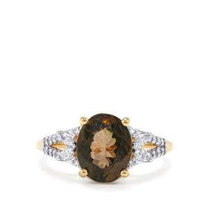 Petro Tourmaline Ring with Diamond in 18K Gold 3.46cts