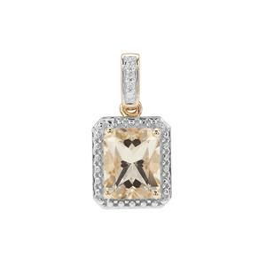 Serenite Pendant with White Zircon in 9K Gold 2.84cts