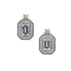 Santa Maria Aquamarine Earrings with White Zircon in 9K Gold 1.40cts