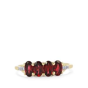 Mahenge Red Spinel Ring with Diamond in 9K Gold 1.18cts