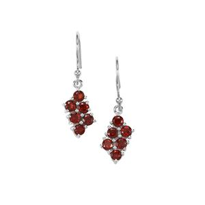 Rajasthan Garnet Earrings in Sterling Silver 1.81cts