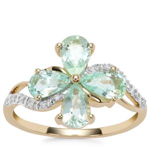 Paraiba Tourmaline Ring with Diamond in 10K Gold 1.58cts
