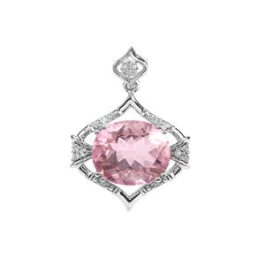 Natural Pink Fluorite Pendant with White Topaz in Sterling Silver 5.85cts