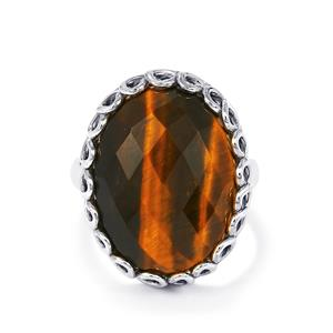 Yellow Tigers Eye Ring in Sterling Silver 14cts