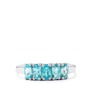 1.33ct Madagascan Blue Apatite Sterling Silver Ring