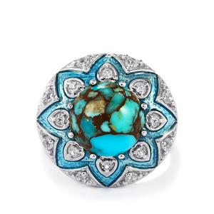 Egyptian Turquoise & White Topaz Sterling Silver Enamel Ring ATGW 5.50cts