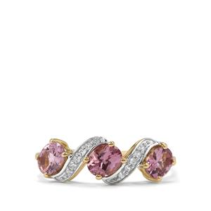 Mahenge Pink Spinel Ring with White Zircon in 10K Gold 1.13cts