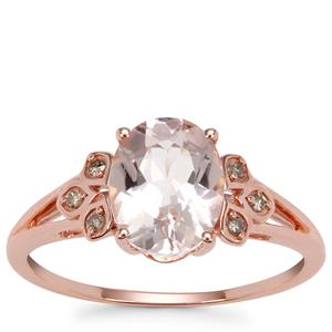 Mozambique Morganite Ring with Champagne Diamond in 9K Rose Gold 1.68cts