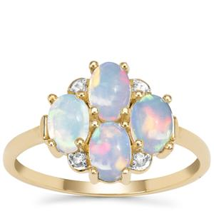 Kelayi Opal Ring with White Zircon in 9K Gold 1.29cts