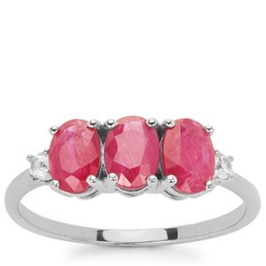 Montepuez Ruby Ring with White Zircon in 9K White Gold 1.9cts