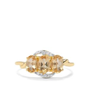 Ouro Preto Imperial Topaz & Diamond 9K Gold Ring ATGW 1.43cts