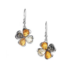 Baltic Cognac, Champagne Amber Earrings with Baltic Green Amber in Sterling Silver (9 x 6mm)