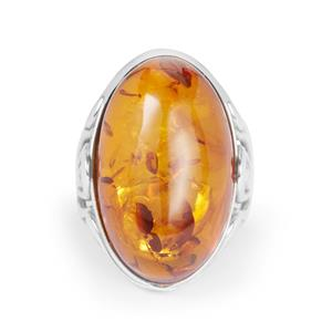 Baltic Cognac Amber Ring in Sterling Silver (24.50 x 15mm)