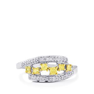 Natural Yellow Diamond Ring with White Diamond in Sterling Silver 0.36ct