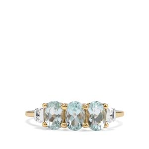 Mozambique Aquamarine & White Zircon 9K Gold Ring ATGW 1.34cts