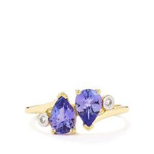 AA Tanzanite Ring with White Zircon in 10k Gold 1.31cts
