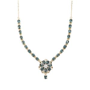 Nigerian Blue Sapphire Necklace with White Zircon in 9K Gold 3.94cts