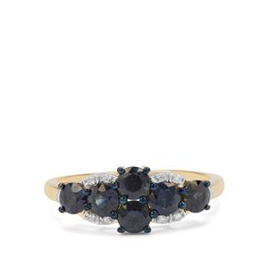 Australian Blue Sapphire Ring with Diamond in 9K Gold 1.27cts