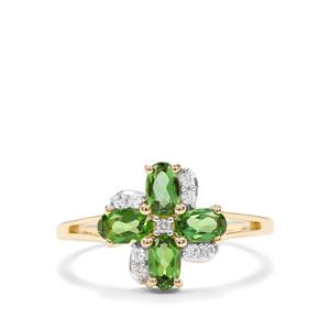 Chrome Tourmaline Ring with White Zircon in 10K Gold 0.93ct