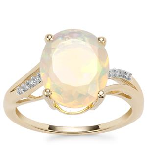 Ethiopian Opal Ring with Diamond in 10K Gold 2.40cts