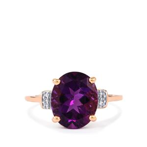 Kenyan Amethyst Ring with Diamond in 10K Rose Gold 3.31cts