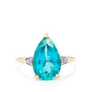 Batalha Topaz Ring with Diamond in 10k Gold 4.89cts