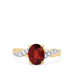 Malawi Garnet Ring with White Zircon in 10k Gold 2.15cts