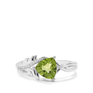 Red Dragon Peridot & White Zircon Sterling Silver Ring ATGW 1.45cts