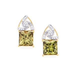 Csarite® Earrings with Diamond in 18k Gold 12.04cts