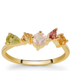 Kaleidoscope Gemstone Ring in Gold Tone Sterling Silver 0.35cts