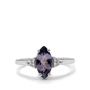 Bi Colour Tanzanite Ring with White Topaz in Sterling Silver 1.56cts
