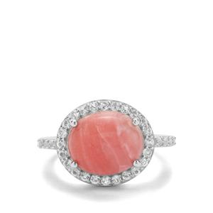 Pink Lady Opal & White Topaz Sterling Silver Ring ATGW 3.58cts