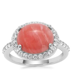 Pink Lady Opal Ring with White Topaz in Sterling Silver 3.58cts