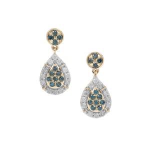 3/4ct Blue & White Diamond 9K Gold Earrings