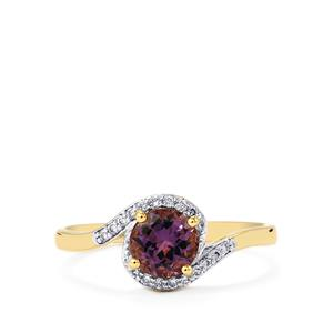 Mahenge Purple Spinel Ring with Diamond in 14k Gold 1.09cts