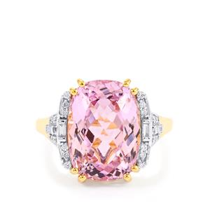 Mawi Kunzite Ring with Diamond in 18K Gold 8.70cts