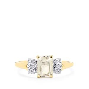 Ice Kunzite & White Zircon 10K Gold Ring ATGW 1.37cts