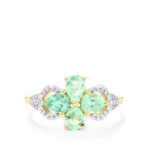 Paraiba Tourmaline Ring with Diamond in 10k Gold 1.25cts
