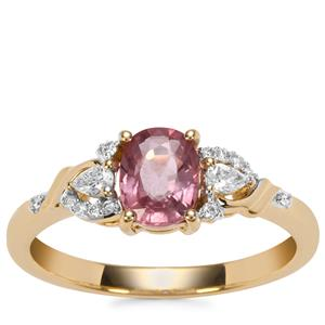 Padparadscha Sapphire Ring with Diamond in 18K Gold 1.11cts