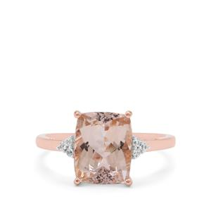 Rose Danburite Ring with White Zircon in 9K Rose Gold 3.15cts